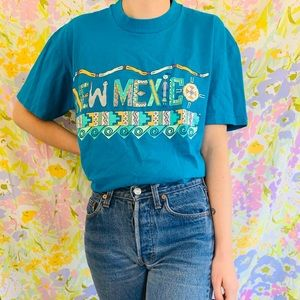 [vintage] 90s New Mexico Tribal Blue T-shirt